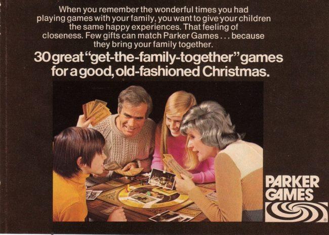 Retro della scatola contenente il gioco Ouija della Parker Brothers