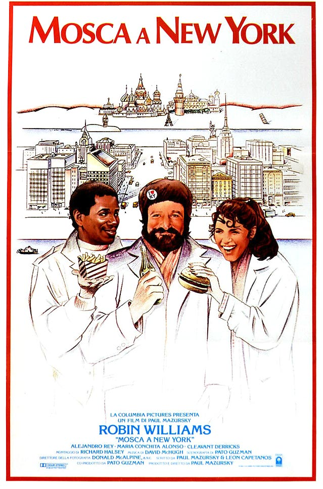 Locandina italiana di Mosca a New York 1984 con Robin Williams
