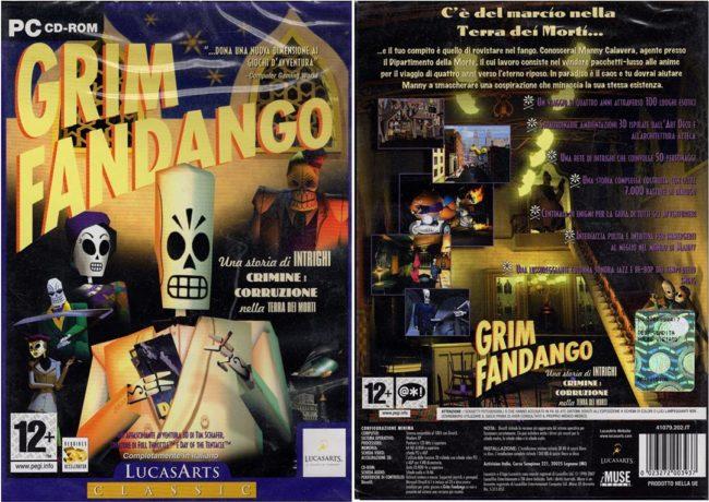 Scatola italiana di Grim Fandango gioco per PC doppiato in italiano con la voce di Renato Cecchetto