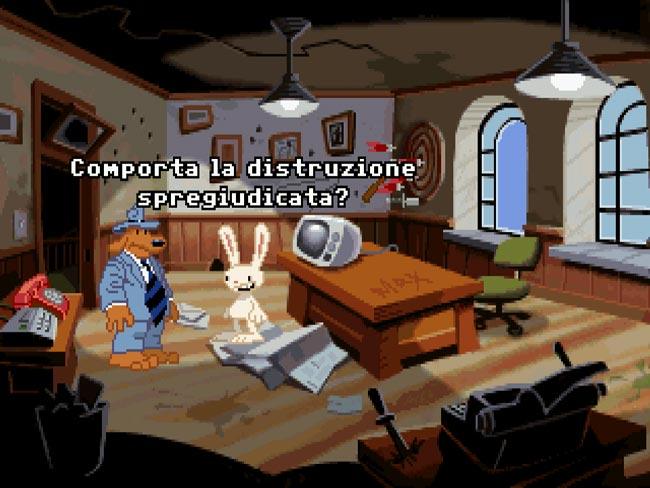 Schermata di gioco da Sam e Max Hit the Road in versione italiana
