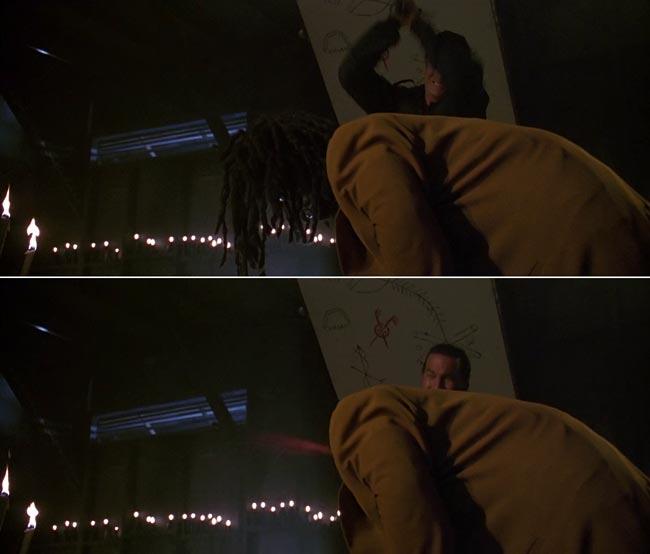 Taglio della testa del cattivo Screwface nel film Programmato per Uccidere con Steven Seagal